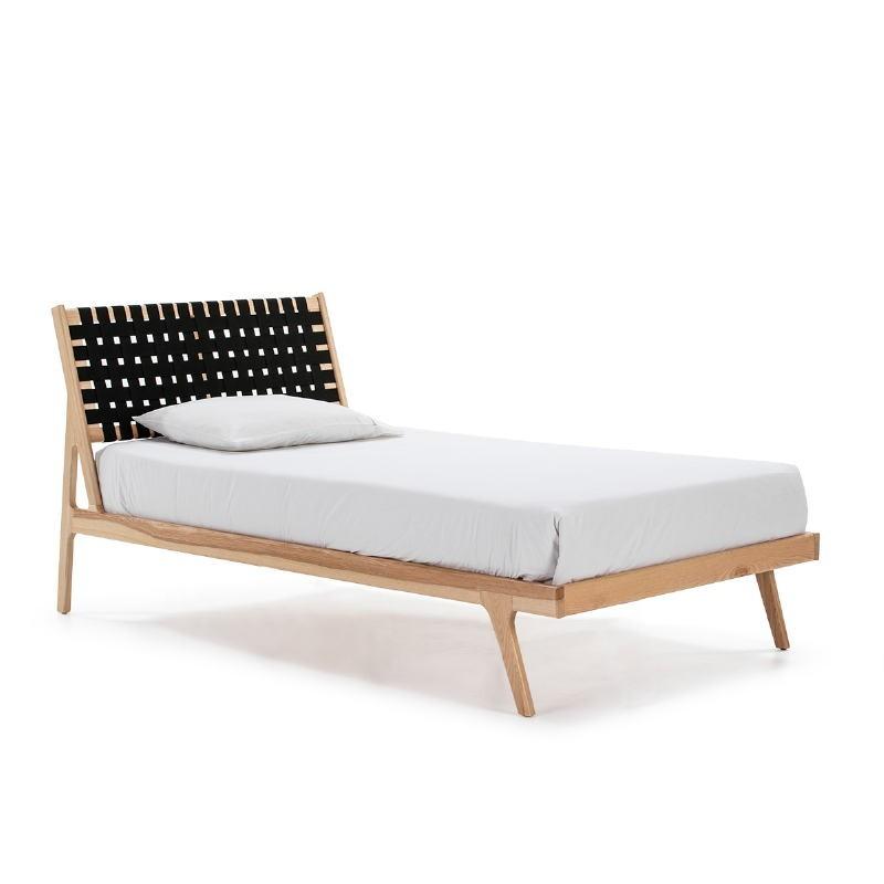 Bett 112X205X97 Eschenholz Natürlich/Stoff Schwarz