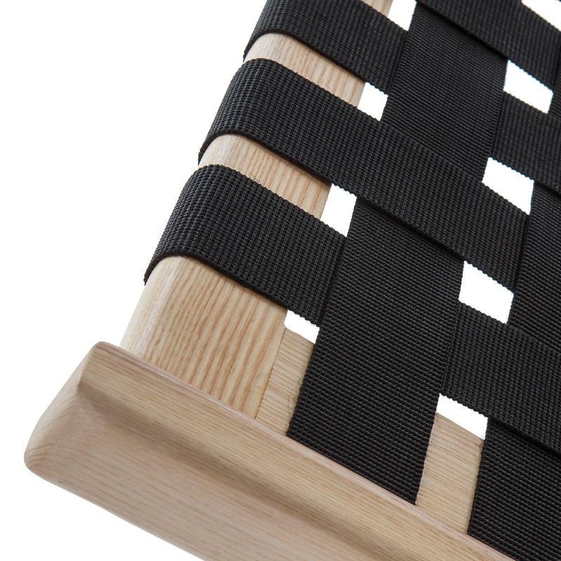 Bed 112X205X97 Ash Wood Natural Fabric Black - image 51835