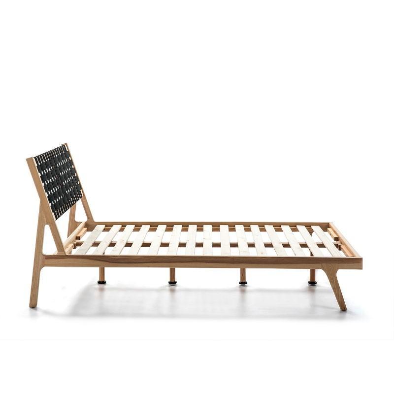 Bed 112X205X97 Ash Wood Natural Fabric Black - image 51838
