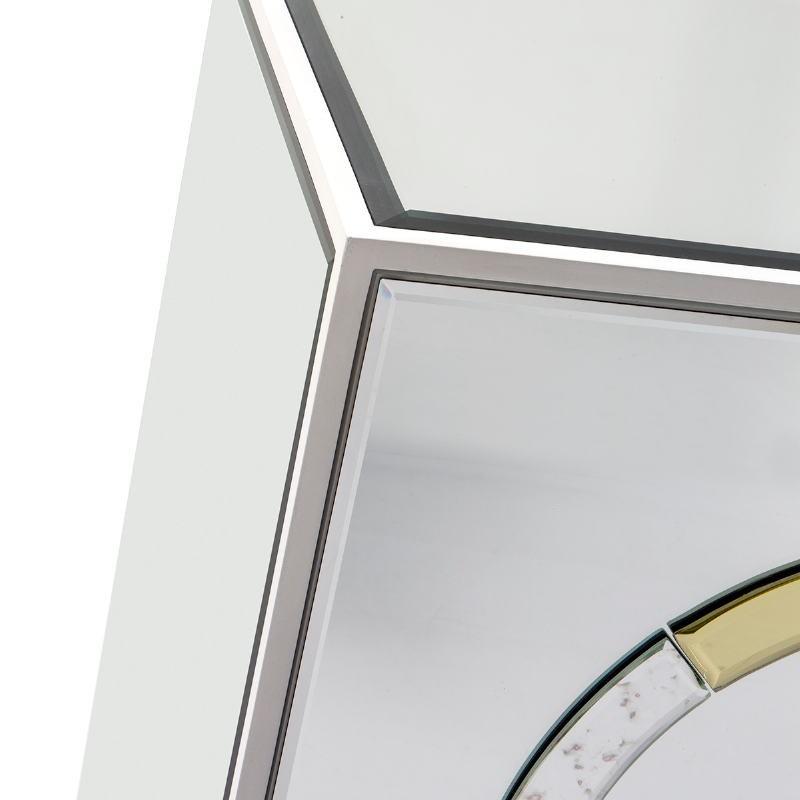 Buffet 2 portes 120x45x80 Verre Blanc MDF Blanc Miroir Métal Doré - image 51847