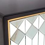 Buffet 3 Porte 150X45X80 Vetro Nero Mdf Nero Specchio Metallo Dorato
