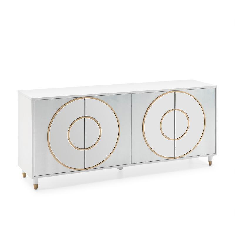 Anrichte 4 Türen 180X45X80 Mdf Weiß/Silberfolie/Spiegel/Mdf Golden
