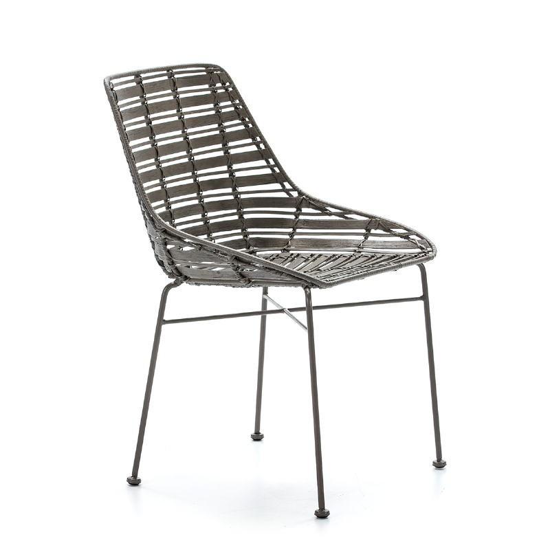 Chair 55X54X81 Metal Grey Wicker Grey - image 51907