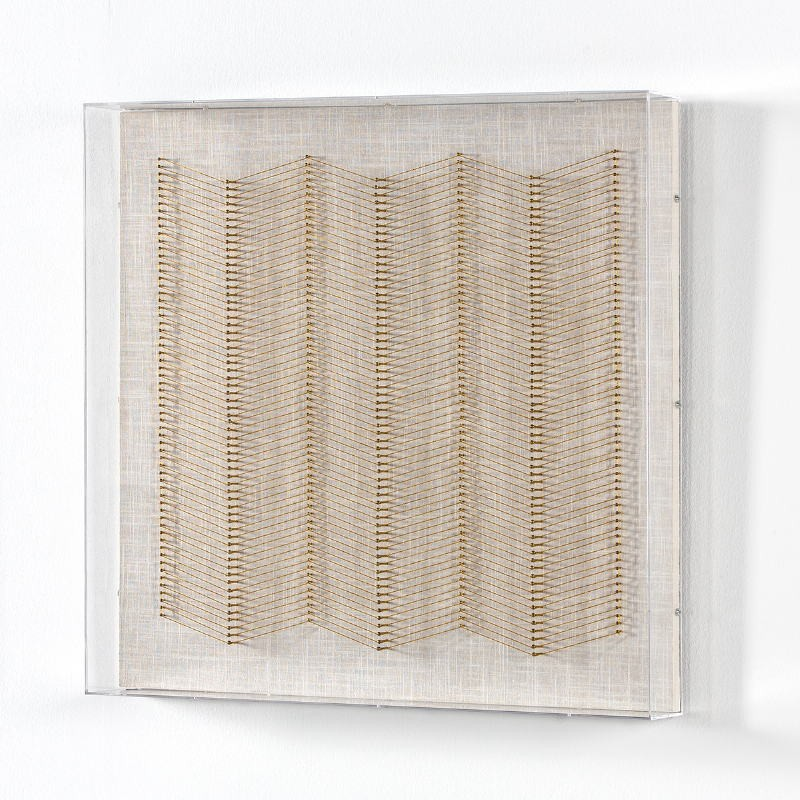 Tableau 60x8x60 Fils Doré Acrylique Transparent - image 52014