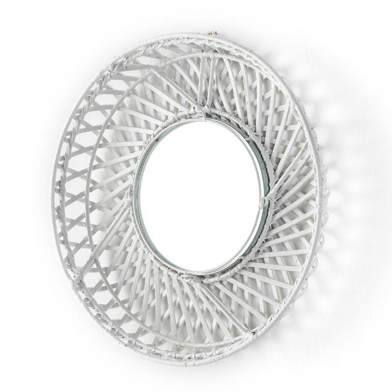 Mirror 50X8X50 Glass Wicker White - image 52023