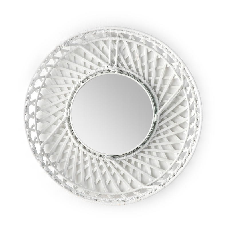 Mirror 50X8X50 Glass Wicker White - image 52024