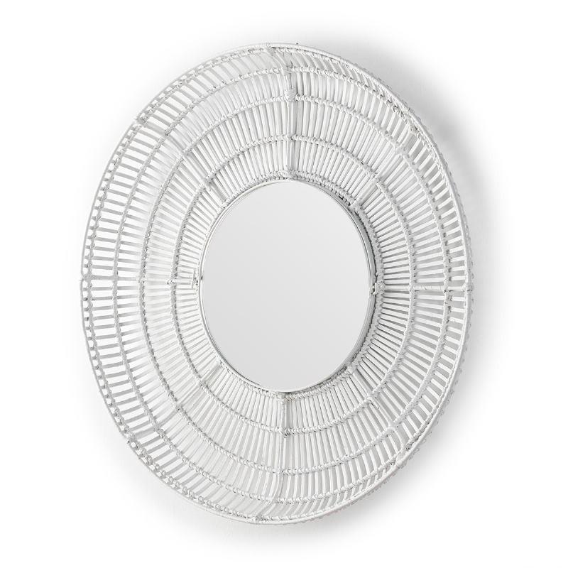 Espejo 90X8X90 Cristal Mimbre Blanco