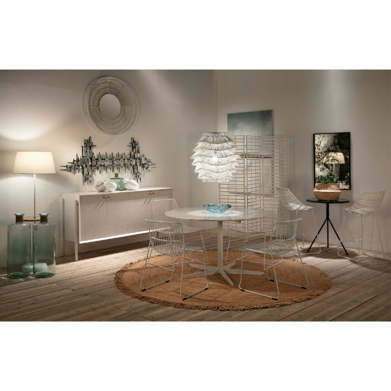 Mirror 90X8X90 Glass Wicker White - image 52037
