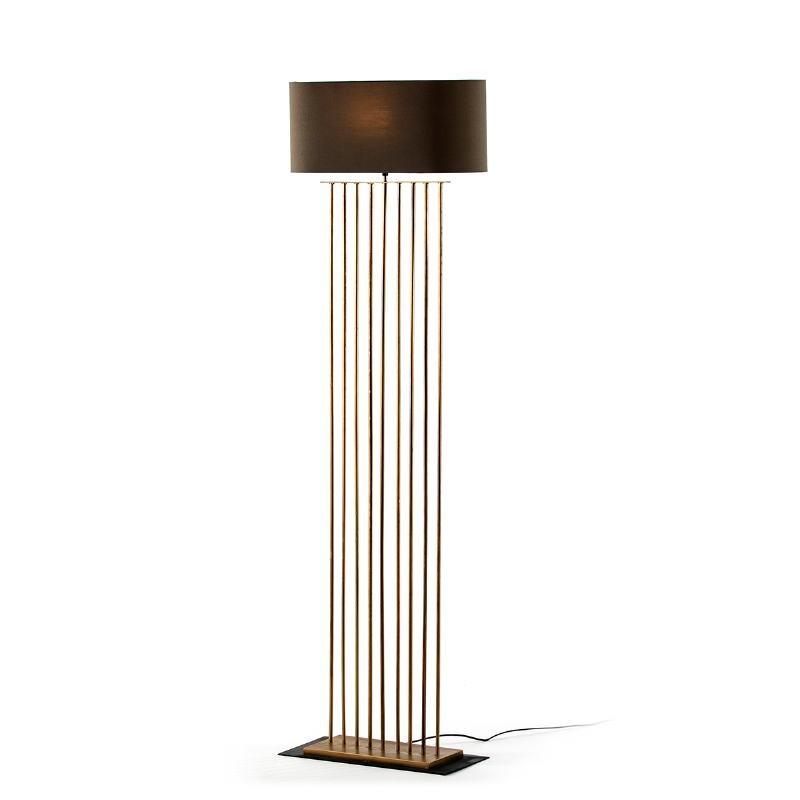 Lámpara De Pié 47X21X139 Metal Dorado Con Pantalla Gris