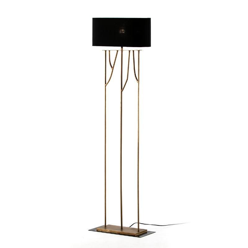 Lámpara De Pié 47X21X140 Metal Dorado Con Pantalla Negro