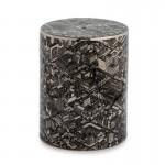Hocker 33X33X45 Keramik Schwarz / Silber