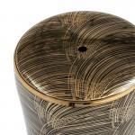 Sgabello 33X33X45 Ceramica Dorato Nero