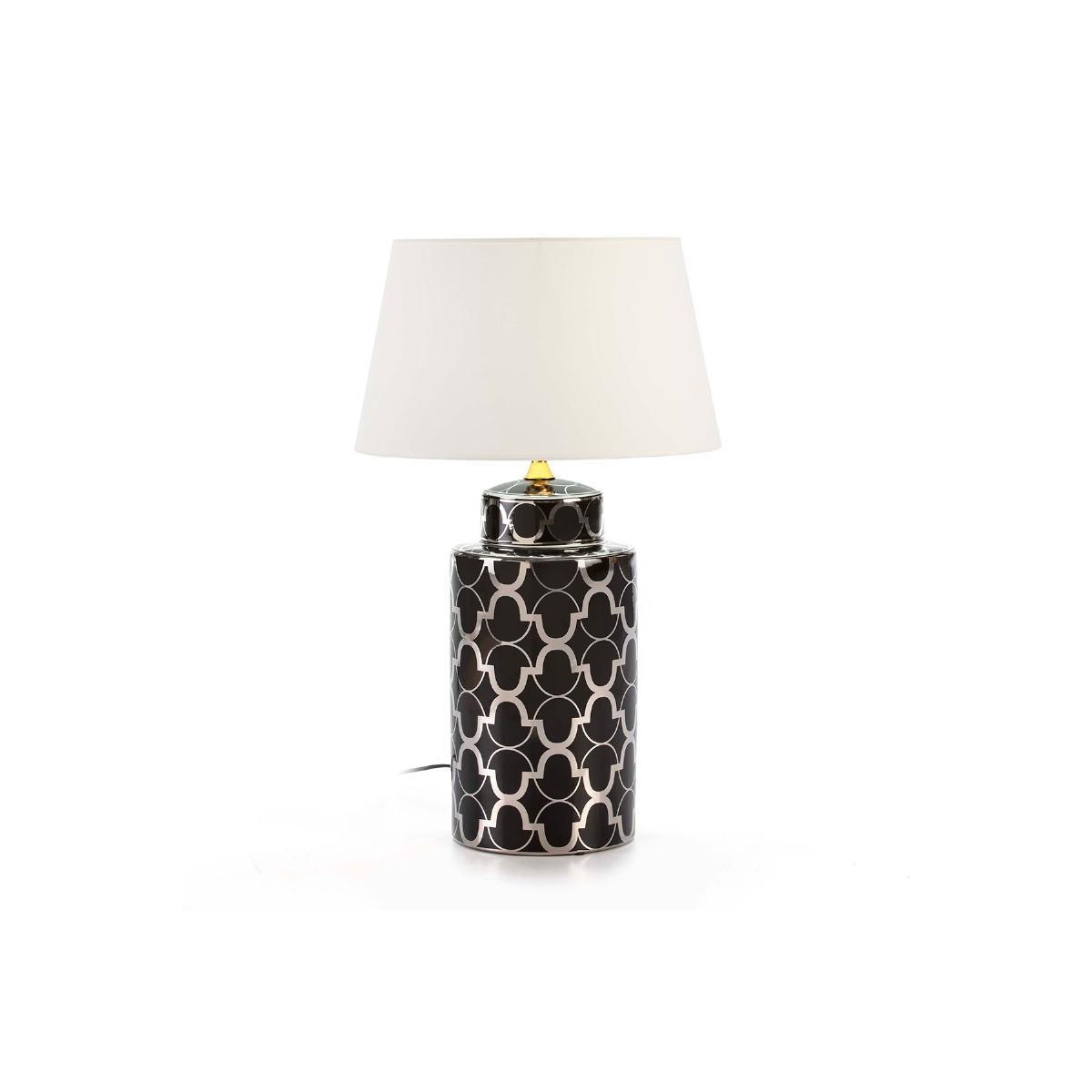 Lampada Da Tavolo Senza Paralume 24x24x50 Ceramica Nero Argento