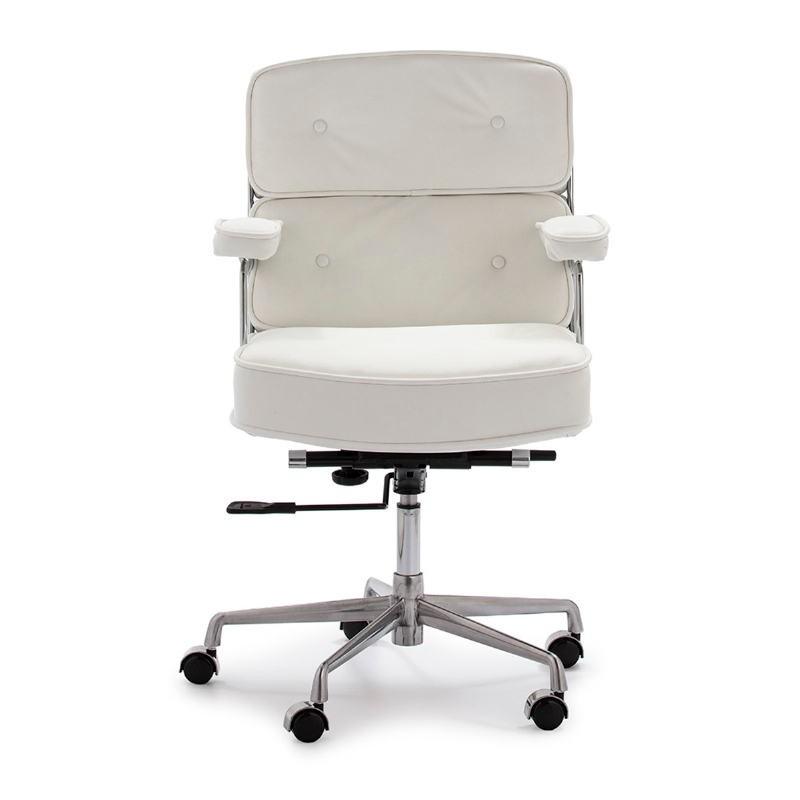 Chaise de Bureau réglable en hauteur 64x60x93 99 cm Métal Cuir Blanc - image 52183