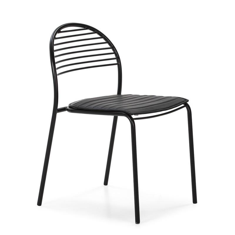 Chaise 47x55x81 Métal Noir Cuir synthétique Noir - image 52186