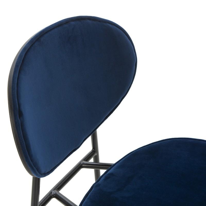 Chaise 42x51x78 cm Métal Noir ABS Noir Velours Bleu - image 52234