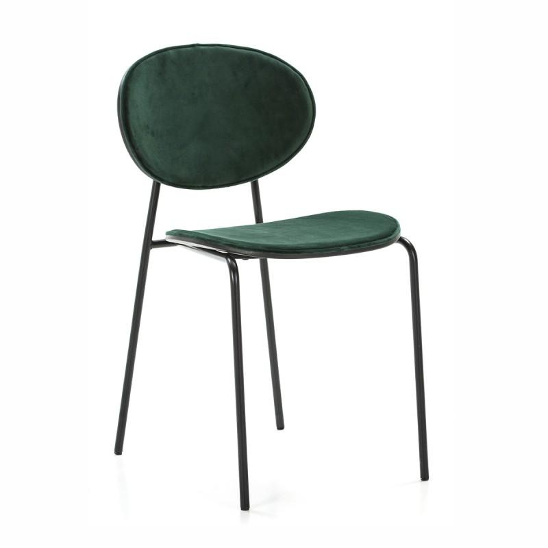 Chaise 42x51x78 cm Métal Noir ABS Noir Velours Vert - image 52235