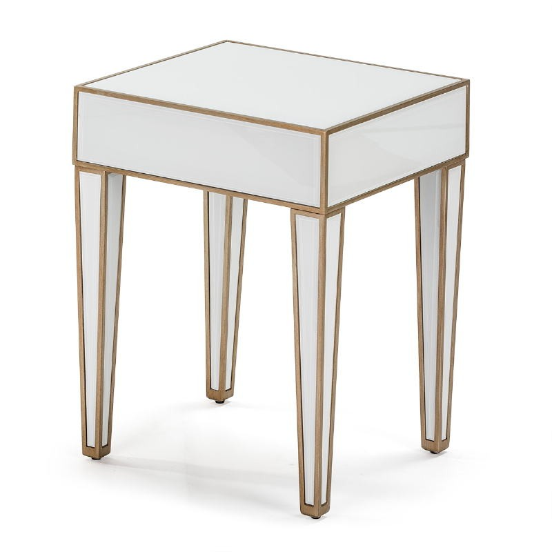 Bedside Table 45X40X60 Mirror Glass White Mdf Golden - image 52248