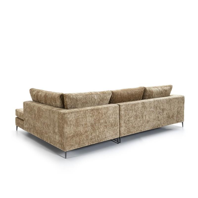 Canapé d'angle 3 places 300x210x90 cm tissu Brun - image 52260