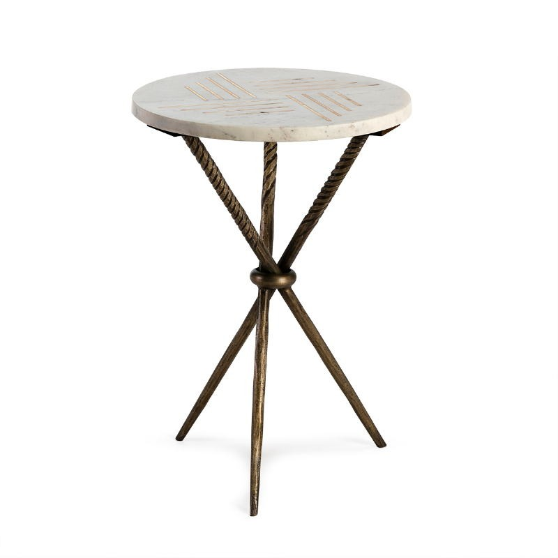 Side Table 40X40X58 Metal Golden Marble White