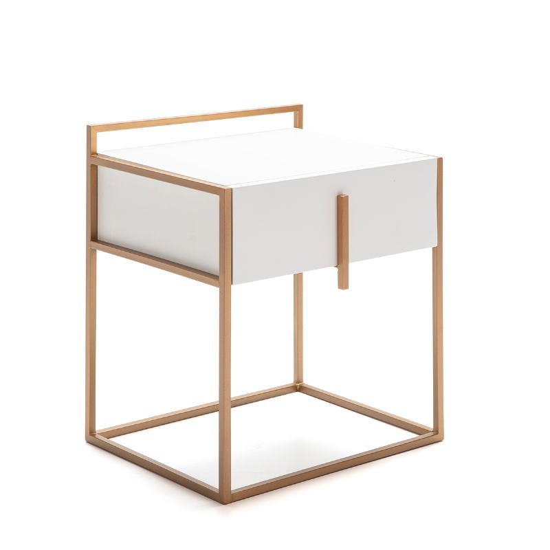 Bedside Table 50X40X60 Wood White Metal Golden