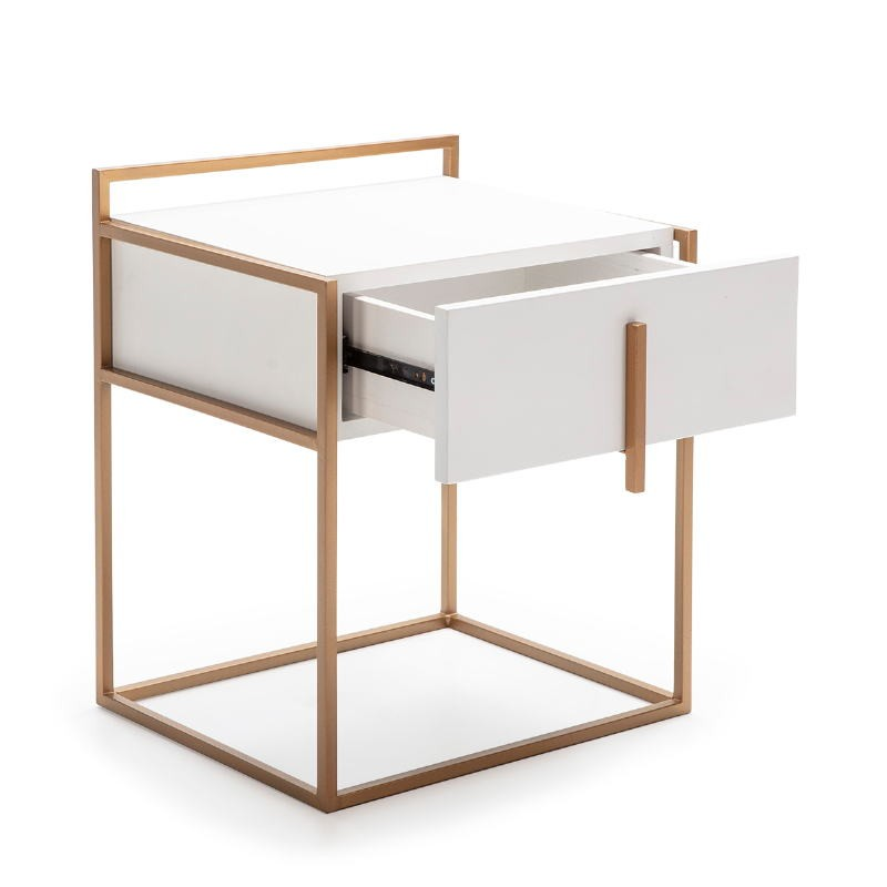 Bedside Table 50X40X60 Wood White Metal Golden - image 52287
