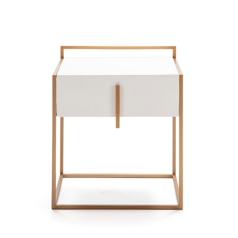 Bedside Table 50X40X60 Wood White Metal Golden - image 52288