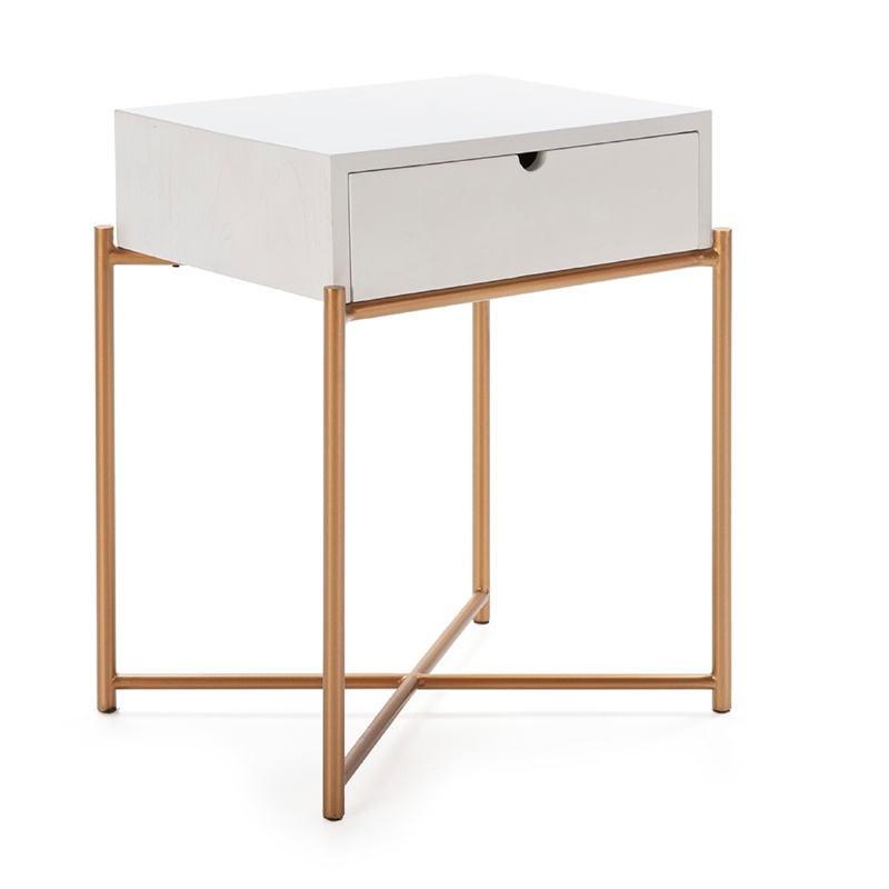 Nachttisch 50X40X62 Holz Weiß/Metall Golden