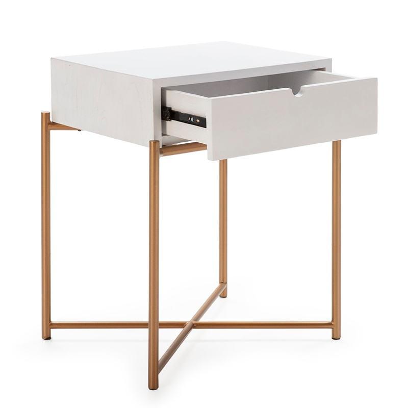 Table de chevet 50x40x62 Bois Blanc Métal Doré - image 52291