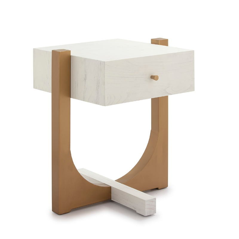Bedside Table 51X45X61 Wood White Metal Golden - image 52293