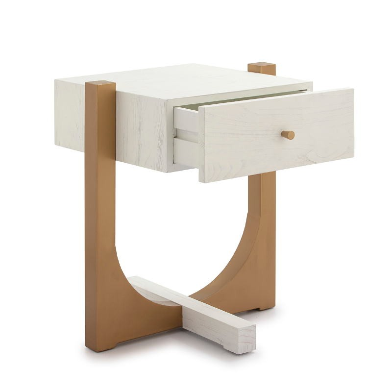 Bedside Table 51X45X61 Wood White Metal Golden - image 52295