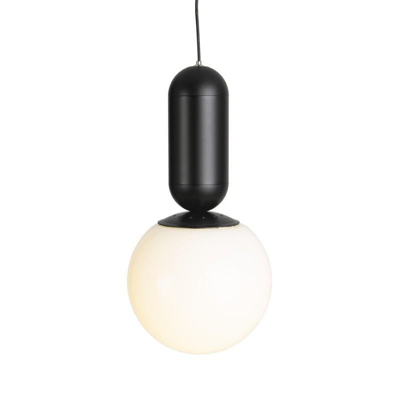 Hanging Lamp 12X12X25 Metal Black Glass White - image 52298