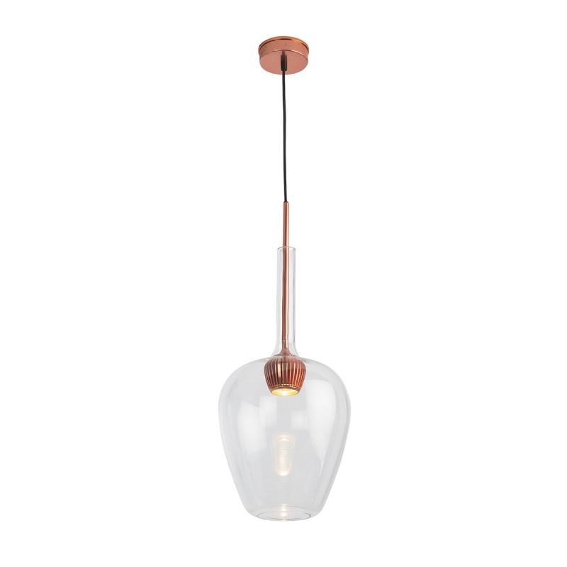 Lámpara Colgante 25X25X66 Aluminio Color Cobre Cristal Transparente