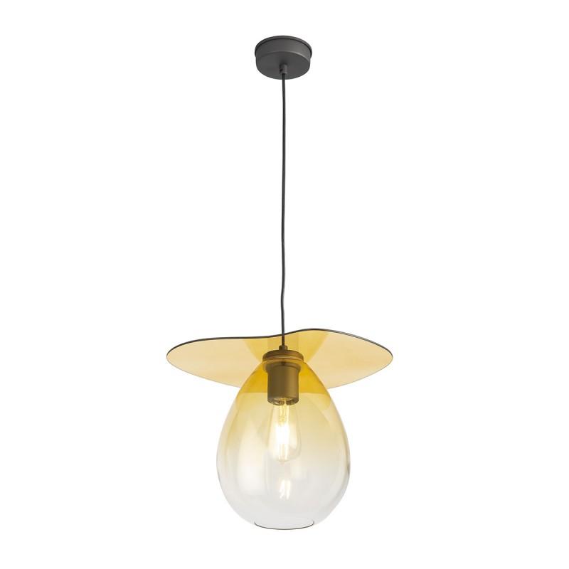 Lampe suspendue 34x33x31 Métal Noir Verre Ambre