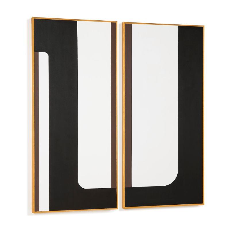 Toile 60x4x130 Blanc Noir Doré Modèle 3 - image 52316