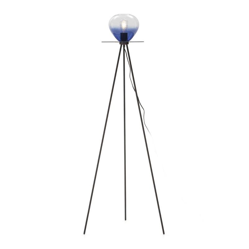 Lampadaire 60x60x160 Métal Noir Verre Bleu