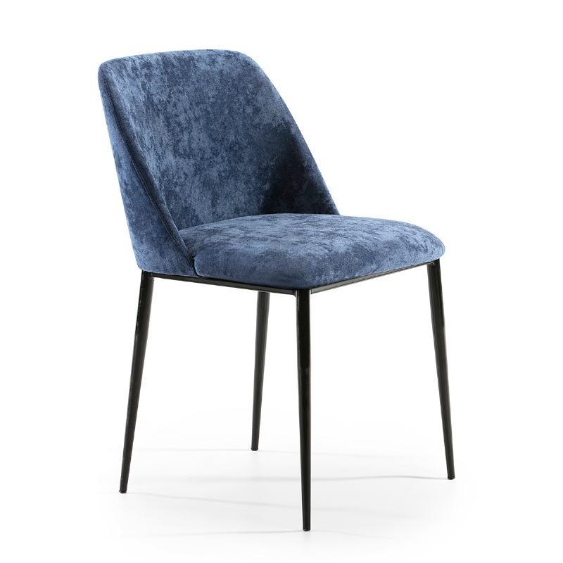 Chaise 56x52x77 Métal Noir tissu Bleu - image 52328