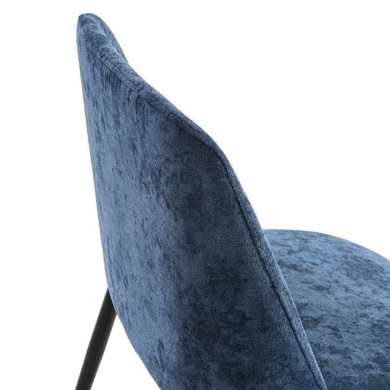 Chaise 56x52x77 Métal Noir tissu Bleu - image 52329
