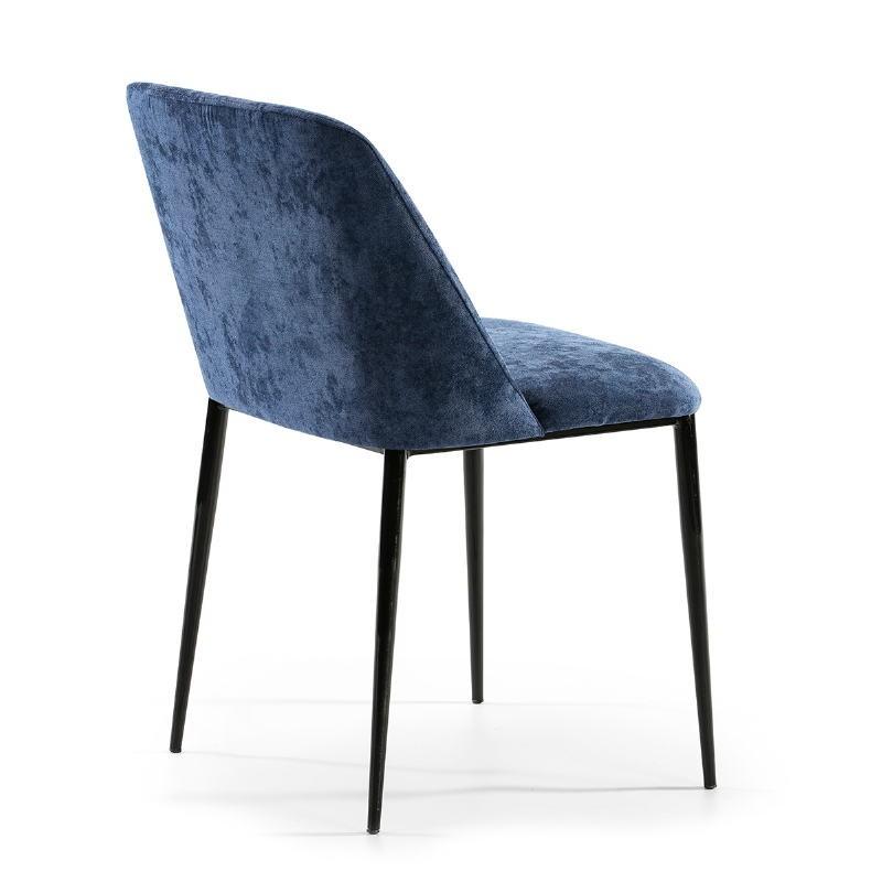 Chaise 56x52x77 Métal Noir tissu Bleu - image 52330