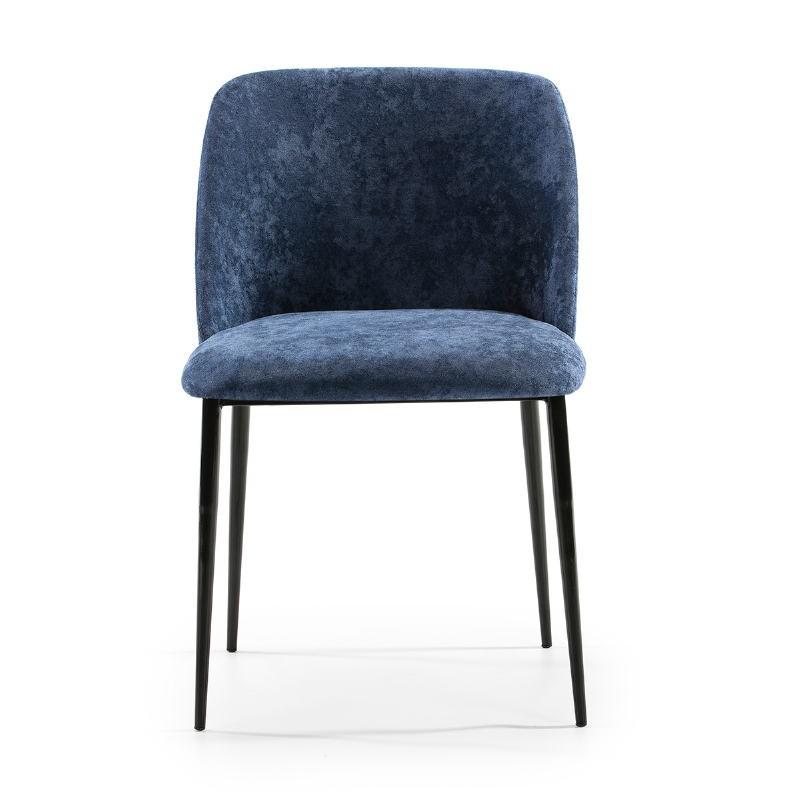 Chaise 56x52x77 Métal Noir tissu Bleu - image 52331
