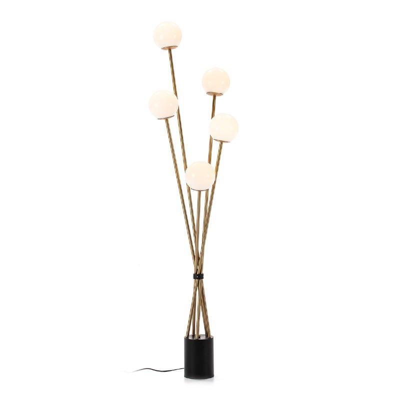 Lámpara De Pié 50X50X178 Cristal Blanco Metal Dorado Negro