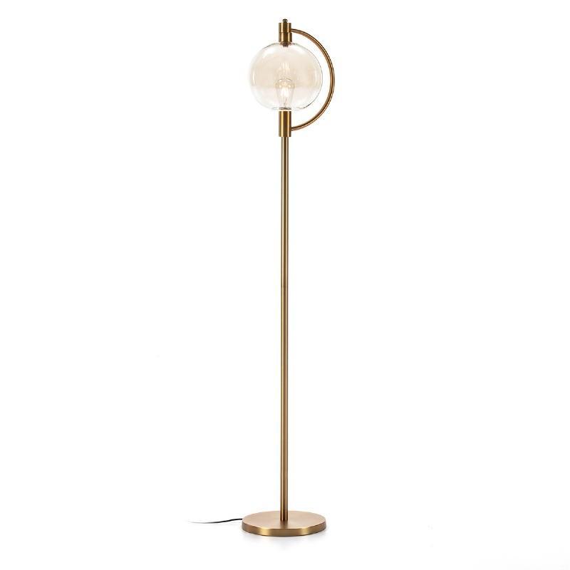 Lámpara De Pié 30X28X160 Cristal Ámbar Metal Dorado
