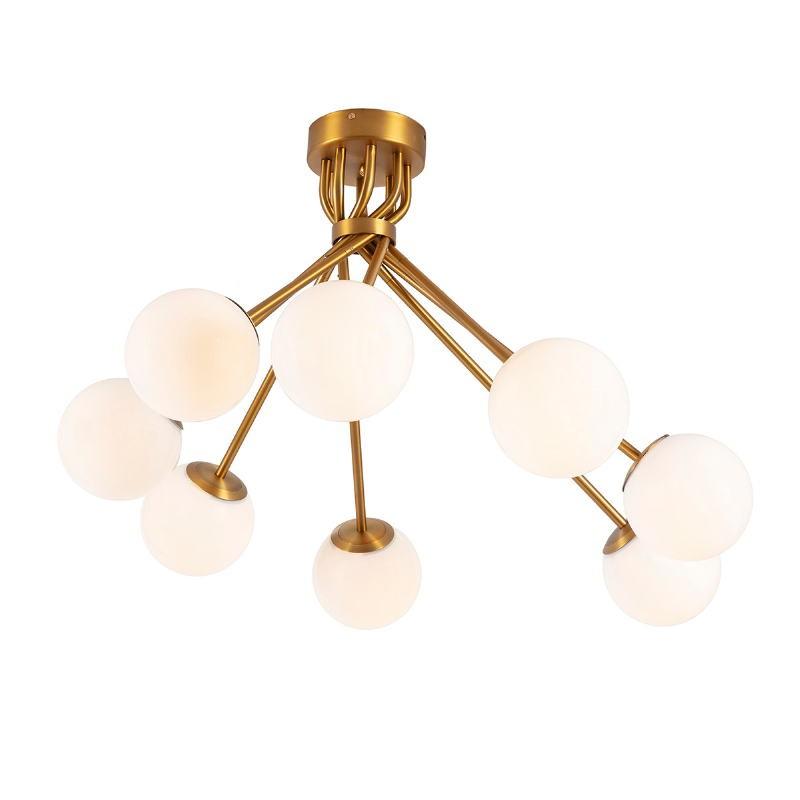Lampada A Sospensione 100X100X58 Vetro Bianco Metallo Dorato