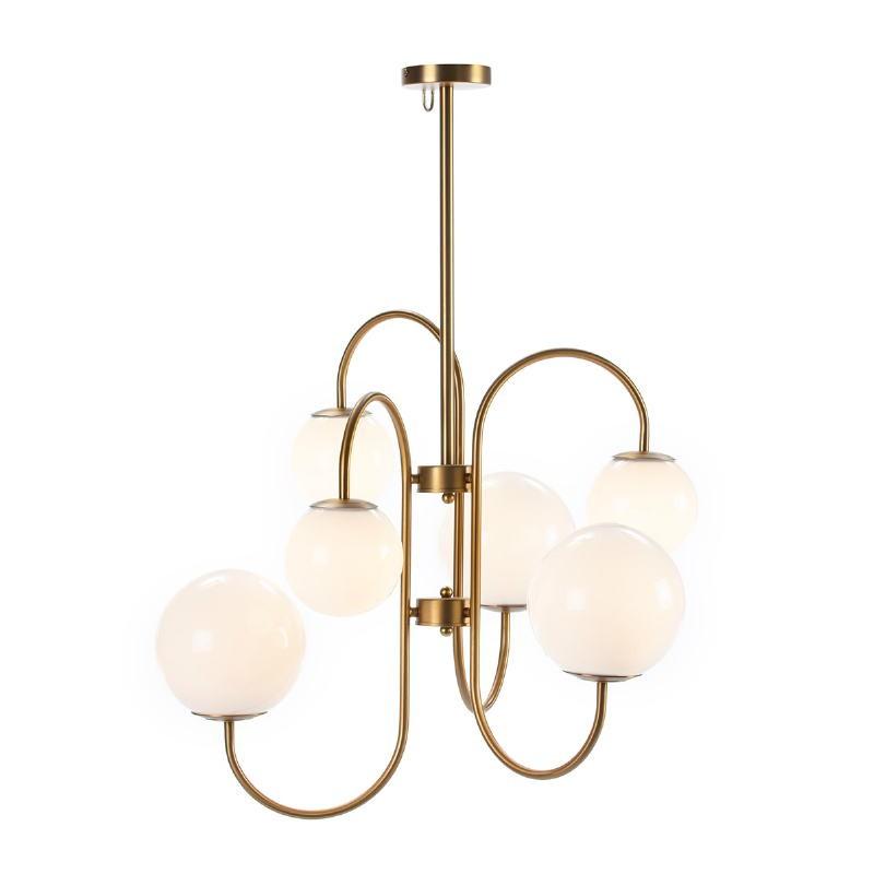 Lampe suspendue 78x78x100 Verre Blanc Métal Doré