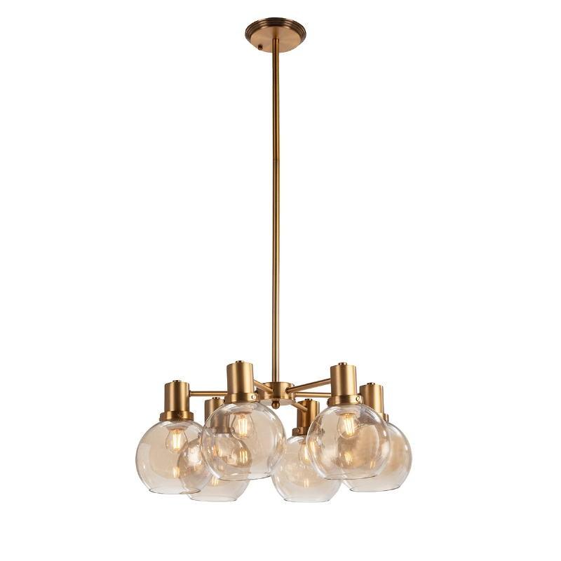 Lampe suspendue 46x46x112 Verre Ambre Métal Doré - image 52405