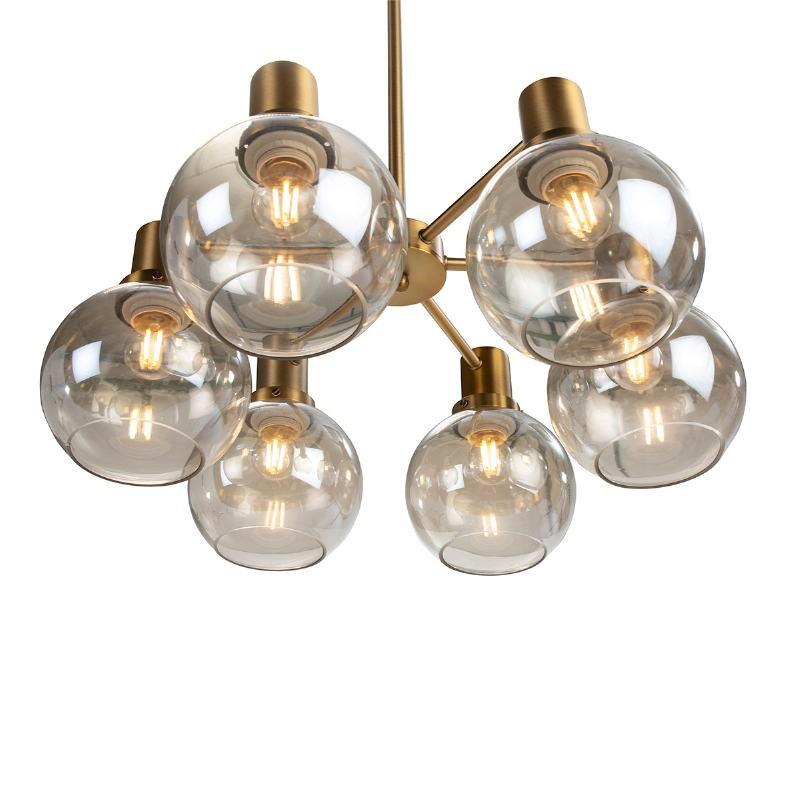 Lámpara Colgante 46X46X112 Cristal Ámbar Metal Dorado - image 52407