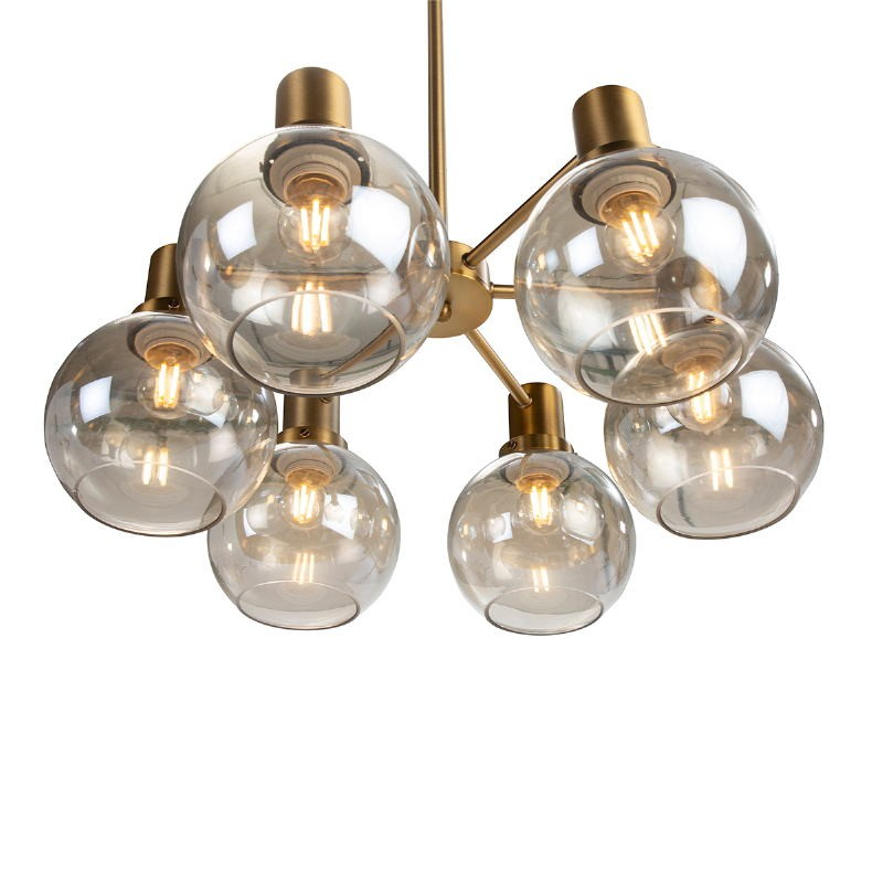 Lampe suspendue 46x46x112 Verre Ambre Métal Doré - image 52407