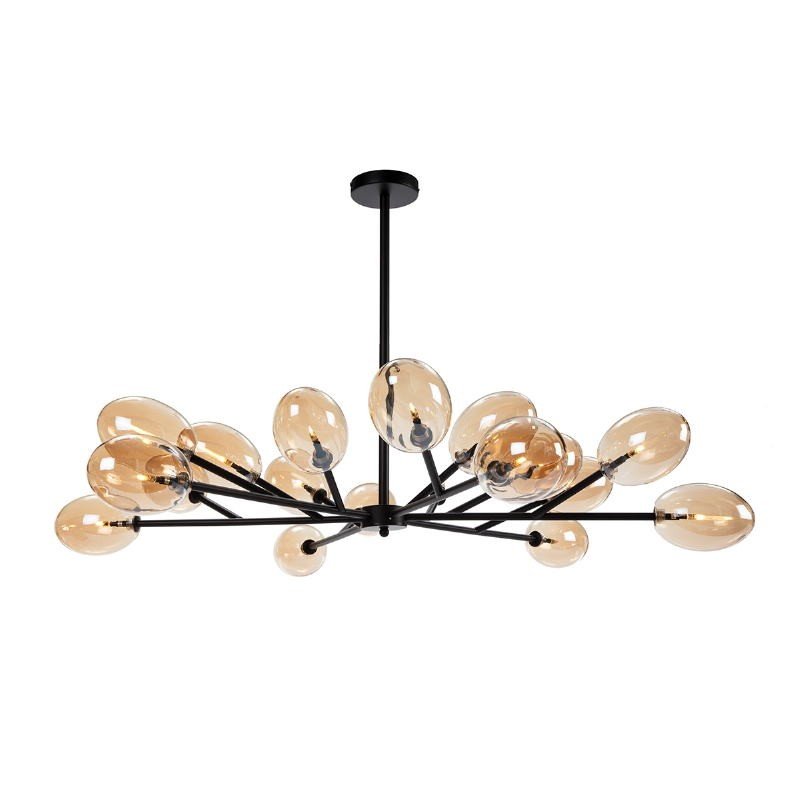 Lampe suspendue 130x130x74 Verre Ambre Métal Noir