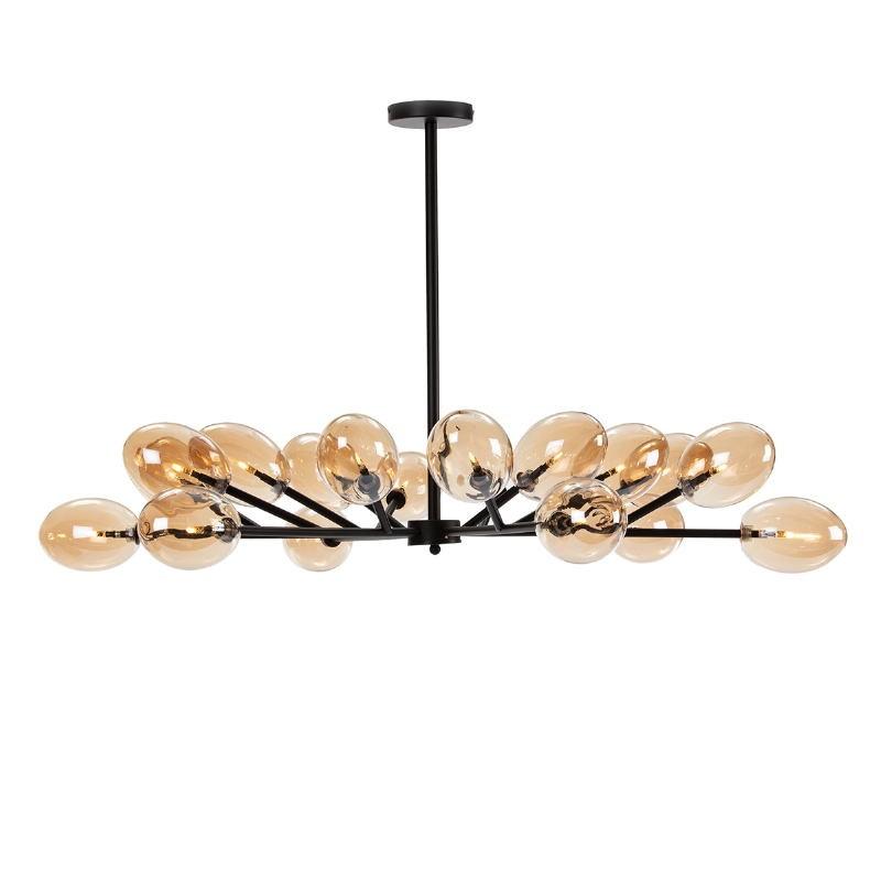 Lampe suspendue 130x130x74 Verre Ambre Métal Noir - image 52411