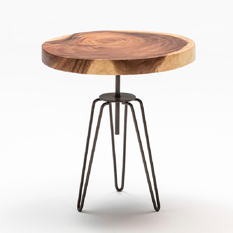 Table d'appoint, bout de canapé, bout de canapé 48x53 aprox. Métal Bois Naturel